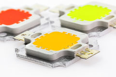 Three powerful color 10W LED chips Stock Photography