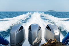 Three powerful engines mounted on the speedboat. Andaman Sea, Thailand Stock Images