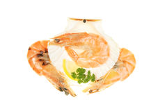 Three prawns Stock Image