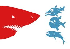 Predatory fishes and shark. Three predatory fishes met big scary shark. Red and blue fish series Royalty Free Illustration