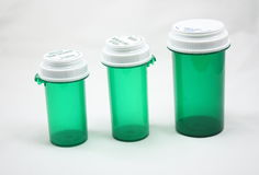 Three Prescription Bottles. Isolated on a white background Stock Photo
