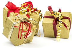 Three present parcels Royalty Free Stock Photos