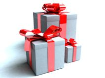 Three presents. In small, medium and large boxes royalty free illustration