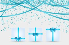 Three presents and confetti Stock Photos