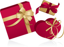 Three presents with ribbons Royalty Free Stock Photography