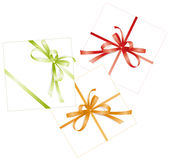 Three presents,  ribbons, bows Stock Photography