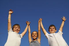 Three preteen friends Stock Image