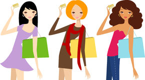 Three pretty girls with card Royalty Free Stock Photos