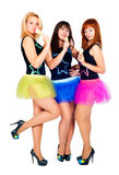 Three pretty girls dancing Royalty Free Stock Photos