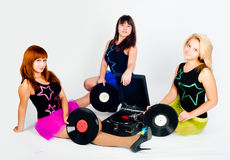 Three pretty girls with gramophone Royalty Free Stock Images