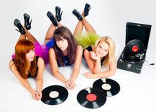 Three pretty girls with gramophone Stock Photos