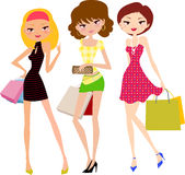 Three pretty girls with shopping bag Royalty Free Stock Photos