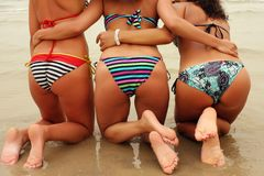 Three pretty women bottoms royalty free stock photos