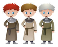 Three priests in medieval time Royalty Free Stock Image