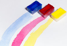 The three primary colors drawn with watercolor Stock Images
