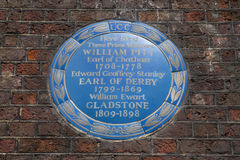 Three Prime Ministers Blue Plaque in London Royalty Free Stock Images