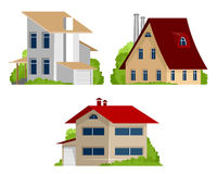 Three private houses Stock Photos
