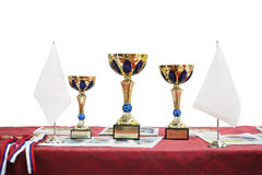 Three prize cups Royalty Free Stock Photos