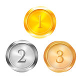Three prize medals, vector illustration Royalty Free Stock Images