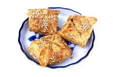Three puff pastry pie on the plate Royalty Free Stock Images