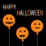 Three pumpkin balloon set. Smiling sad face head emotion set. Big triangle eyes, smile mouse, teeth. Happy Halloween symbol. Cute cartoon funny baby character Stock Images