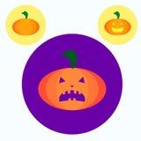 Three pumpkin icons. Festive decoration, vector Royalty Free Stock Photos