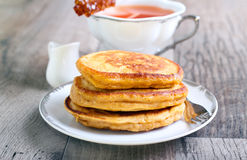 Three pumpkin pancakes Stock Photography