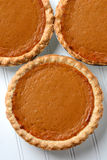 Three Pumpkin Pies Closeup Royalty Free Stock Images