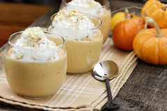 Three Pumpkin Smoothies Stock Photo