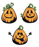 Three pumpkins. Three jack'o lanterns illustrations Royalty Free Stock Photography