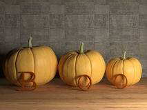Three pumpkins. Three pumpkin on table with boo letters, 3d render Royalty Free Stock Photos