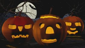 Three Pumpkins. Illustration of three carved pumpkins in night setting with full moon and bat Royalty Free Stock Photos