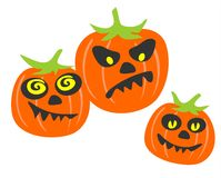 Three pumpkins. Three stylized pumpkins with different expressions of persons on a white background Royalty Free Stock Images