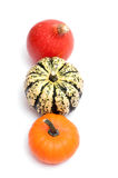 Three pumpkins from above Stock Photo