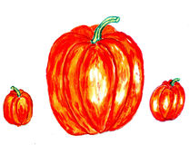 Three Pumpkins Art Royalty Free Stock Photos