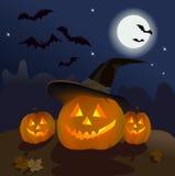 Three pumpkins in the dark sky Stock Image