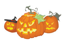 Three pumpkins for halloween. Celebration stand together Royalty Free Stock Photo