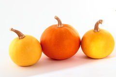 Three pumpkins isolated on a white background with a drop shadow Royalty Free Stock Photography