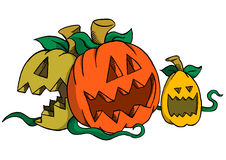Three pumpkins laughing Stock Image