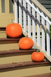 Three pumpkins on steps of rural country home Stock Photo
