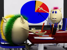 Three puppets discussing overl chart on screen Royalty Free Stock Photography