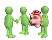 Three puppets with piggy bank Royalty Free Stock Image