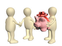 Three puppets with piggy bank Stock Photos