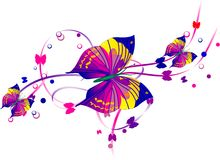Three Purple Butterflies and Scrolls Royalty Free Stock Photo