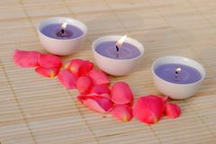 Three purple candles with rose petals. On bamboo Royalty Free Stock Photos