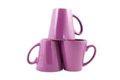 Three Purple cups. Studio shot Royalty Free Stock Photo