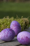 Three purple eggs lying on a table Royalty Free Stock Photos