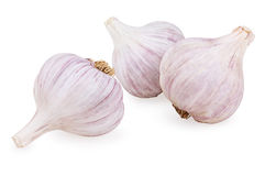 Three purple garlic Stock Photo