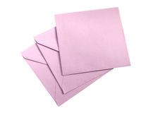 Three purple no name envelopes isolated Stock Photography