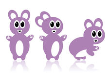 Three purple rabbits Royalty Free Stock Images